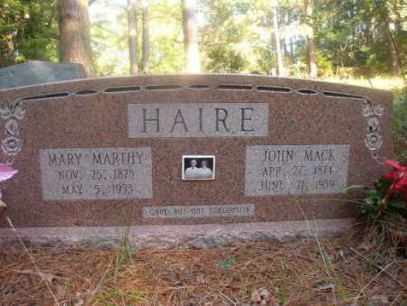 HAIRE, MARY MARTHY - Ouachita County, Arkansas | MARY MARTHY HAIRE - Arkansas Gravestone Photos