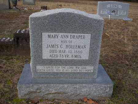 DRAPER HOLLEMAN, MARY ANN - Ouachita County, Arkansas | MARY ANN DRAPER HOLLEMAN - Arkansas Gravestone Photos