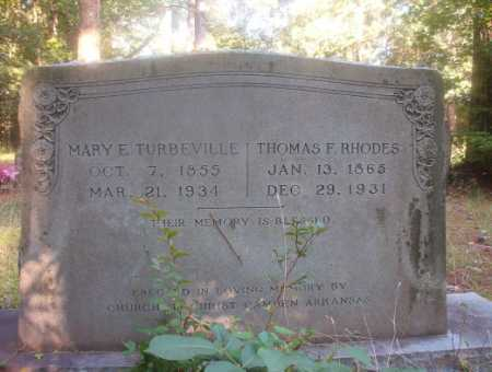 TURBEVILLE RHODES, MARY E - Ouachita County, Arkansas | MARY E TURBEVILLE RHODES - Arkansas Gravestone Photos