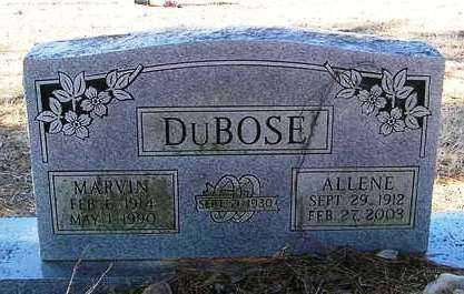 DUBOSE, ALLENE - Perry County, Arkansas | ALLENE DUBOSE - Arkansas Gravestone Photos