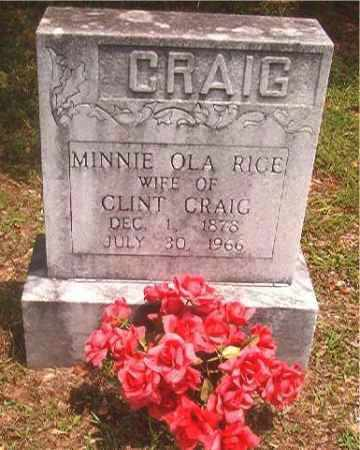 RICE CRAIG, MINNIE OLA - Pike County, Arkansas | MINNIE OLA RICE CRAIG - Arkansas Gravestone Photos