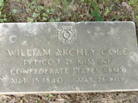 COLE  (VETERAN CSA), WILLIAM ARCHEY - Poinsett County, Arkansas | WILLIAM ARCHEY COLE  (VETERAN CSA) - Arkansas Gravestone Photos