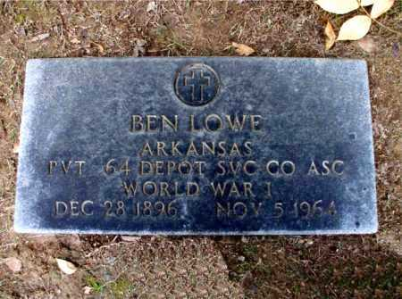 LOWE  (VETERAN WWI), BEN - Poinsett County, Arkansas | BEN LOWE  (VETERAN WWI) - Arkansas Gravestone Photos