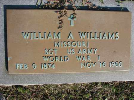 WILLIAMS (VETERAN WWI), WILLIAM A - Poinsett County, Arkansas | WILLIAM A WILLIAMS (VETERAN WWI) - Arkansas Gravestone Photos