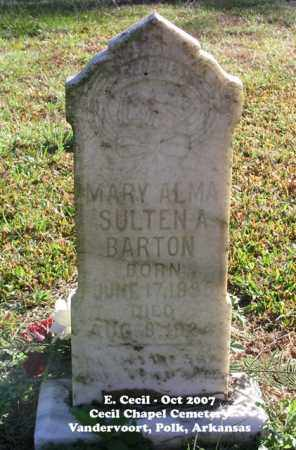 BARTON, MARY ALMA - Polk County, Arkansas | MARY ALMA BARTON - Arkansas Gravestone Photos