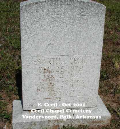 "CECIL, AGNES ""MARTHA"" - Polk County, Arkansas   AGNES ""MARTHA"" CECIL - Arkansas Gravestone Photos"
