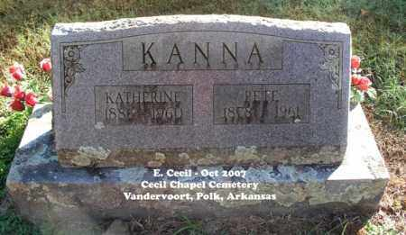 KANNA, PETE - Polk County, Arkansas | PETE KANNA - Arkansas Gravestone Photos