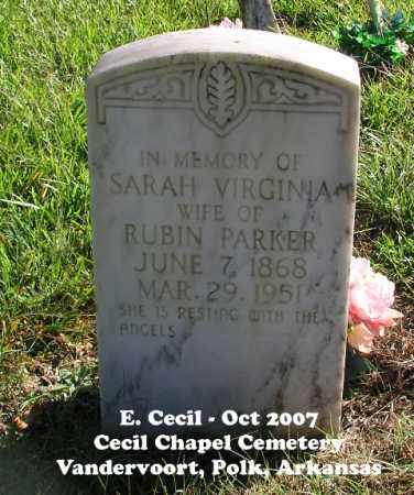 PARKER, SARAH VIRGINIA - Polk County, Arkansas | SARAH VIRGINIA PARKER - Arkansas Gravestone Photos