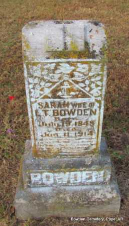 BOWDEN, SARAH - Pope County, Arkansas | SARAH BOWDEN - Arkansas Gravestone Photos