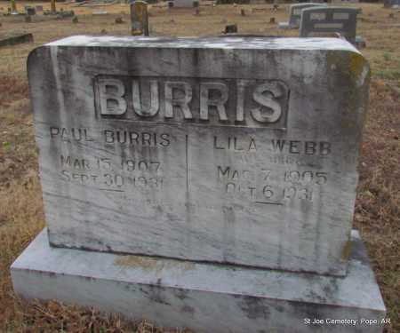 WEBB BURRIS, LILA - Pope County, Arkansas | LILA WEBB BURRIS - Arkansas Gravestone Photos