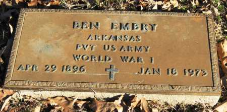 EMBRY  (VETERAN WWI), BEN - Pope County, Arkansas | BEN EMBRY  (VETERAN WWI) - Arkansas Gravestone Photos