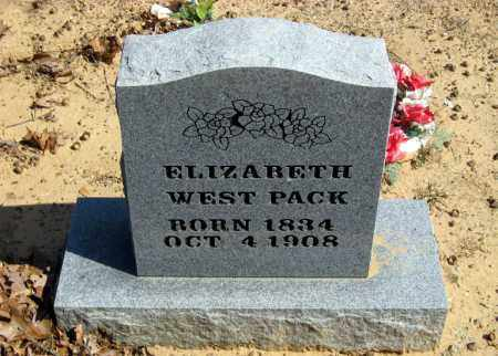 WEST PACK, ELIZABETH - Pope County, Arkansas | ELIZABETH WEST PACK - Arkansas Gravestone Photos