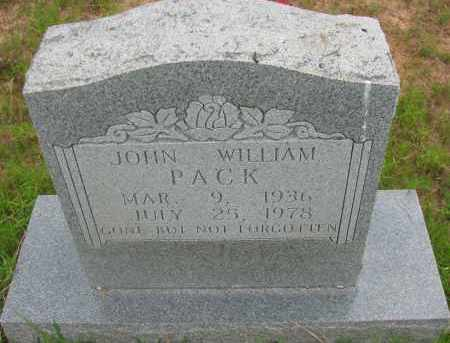 PACK, JOHN WILLIAM - Pope County, Arkansas | JOHN WILLIAM PACK - Arkansas Gravestone Photos