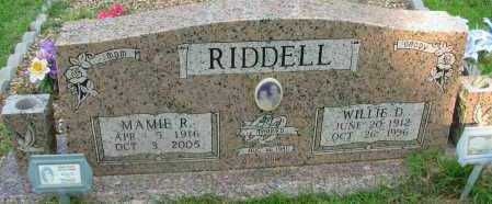 RIDDELL, WILLIE D - Pope County, Arkansas | WILLIE D RIDDELL - Arkansas Gravestone Photos