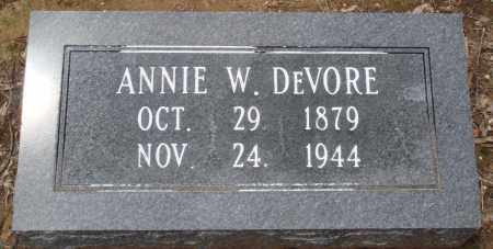 DEVORE, ANNIE W - Prairie County, Arkansas | ANNIE W DEVORE - Arkansas Gravestone Photos