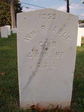ABLE (VETERAN CSA), WILLIAM R - Pulaski County, Arkansas | WILLIAM R ABLE (VETERAN CSA) - Arkansas Gravestone Photos