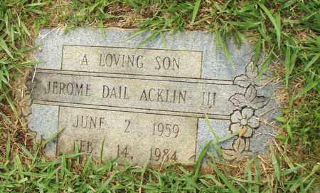 ACKLIN III, JEROME DIAL - Pulaski County, Arkansas | JEROME DIAL ACKLIN III - Arkansas Gravestone Photos