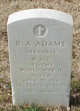 ADAMS (VETERAN 2 WARS), R A - Pulaski County, Arkansas | R A ADAMS (VETERAN 2 WARS) - Arkansas Gravestone Photos