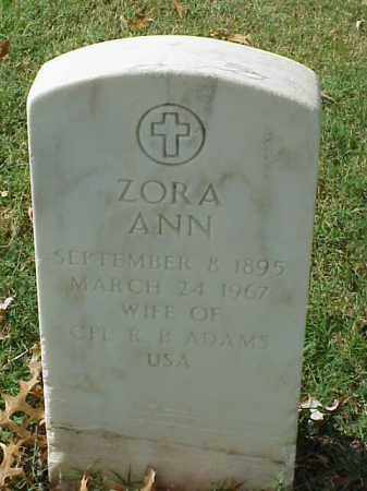 ADAMS, ZORA ANN - Pulaski County, Arkansas | ZORA ANN ADAMS - Arkansas Gravestone Photos