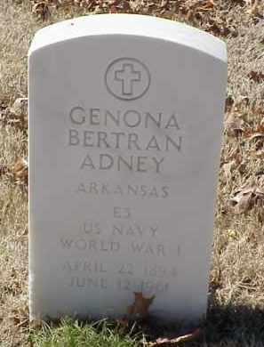 ADNEY  (VETERAN WWI), GENONA BERTRAN - Pulaski County, Arkansas | GENONA BERTRAN ADNEY  (VETERAN WWI) - Arkansas Gravestone Photos