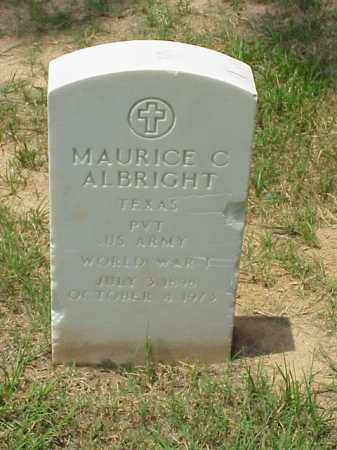 ALBRIGHT (VETERAN WWI), MAURICE C - Pulaski County, Arkansas | MAURICE C ALBRIGHT (VETERAN WWI) - Arkansas Gravestone Photos