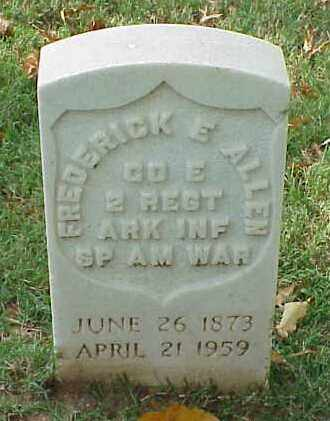 ALLEN (VETERAN SAW), FREDERICK E - Pulaski County, Arkansas | FREDERICK E ALLEN (VETERAN SAW) - Arkansas Gravestone Photos