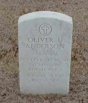 ANDERSON  (VETERAN WWI), OLIVER D - Pulaski County, Arkansas | OLIVER D ANDERSON  (VETERAN WWI) - Arkansas Gravestone Photos
