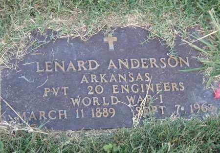 ANDERSON  (VETERAN WWI), LENARD - Pulaski County, Arkansas | LENARD ANDERSON  (VETERAN WWI) - Arkansas Gravestone Photos