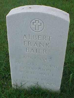 BAIER (VETERAN WWI), ALBERT FRANK - Pulaski County, Arkansas | ALBERT FRANK BAIER (VETERAN WWI) - Arkansas Gravestone Photos