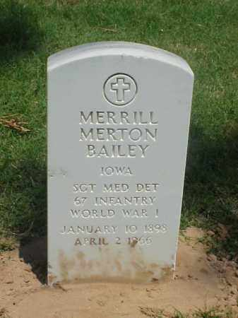 BAILEY (VETERAN WWI), MERRILL MERTON - Pulaski County, Arkansas | MERRILL MERTON BAILEY (VETERAN WWI) - Arkansas Gravestone Photos