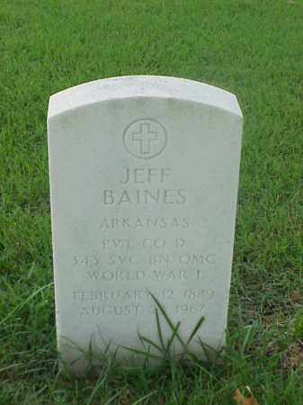 BAINES (VETERAN WWI), JEFF - Pulaski County, Arkansas | JEFF BAINES (VETERAN WWI) - Arkansas Gravestone Photos