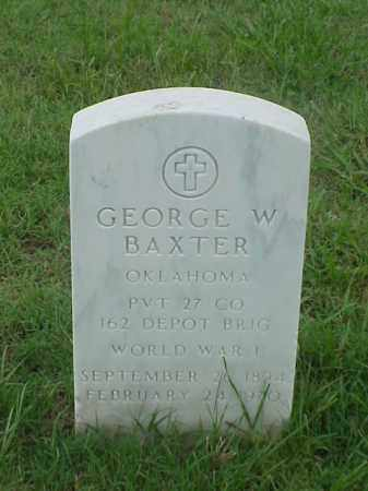 BAXTER (VETERAN WWI), GEORGE W - Pulaski County, Arkansas | GEORGE W BAXTER (VETERAN WWI) - Arkansas Gravestone Photos