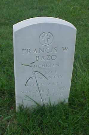 BAZO (VETERAN WWI), FRANCIS W - Pulaski County, Arkansas | FRANCIS W BAZO (VETERAN WWI) - Arkansas Gravestone Photos