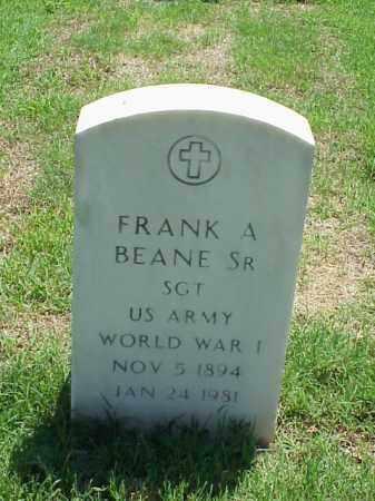 BEANE, SR (VETERAN WWI), FRANK A - Pulaski County, Arkansas | FRANK A BEANE, SR (VETERAN WWI) - Arkansas Gravestone Photos
