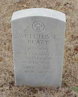 BEATY  (VETERAN WWI), AREETUS F - Pulaski County, Arkansas | AREETUS F BEATY  (VETERAN WWI) - Arkansas Gravestone Photos