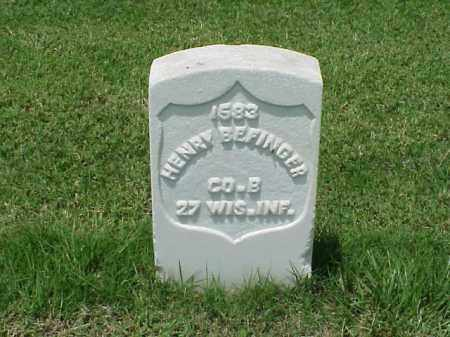 BEFINGER (VETERAN UNION), HENRY - Pulaski County, Arkansas | HENRY BEFINGER (VETERAN UNION) - Arkansas Gravestone Photos
