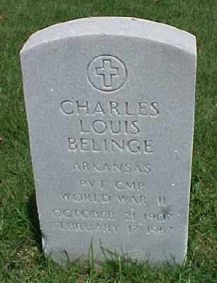 BELINGE (VETERAN WWII), CHARLES LOUIS - Pulaski County, Arkansas | CHARLES LOUIS BELINGE (VETERAN WWII) - Arkansas Gravestone Photos
