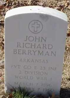 BERRYMAN  (VETERAN WWI), JOHN RICHARD - Pulaski County, Arkansas | JOHN RICHARD BERRYMAN  (VETERAN WWI) - Arkansas Gravestone Photos