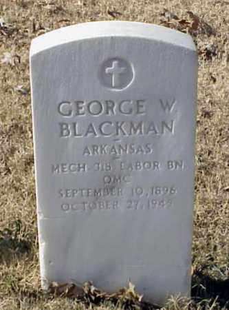 BLACKMAN (VETERAN WWI), GEORGE W - Pulaski County, Arkansas | GEORGE W BLACKMAN (VETERAN WWI) - Arkansas Gravestone Photos