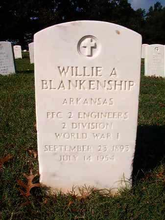 BLANKENSHIP (VETERAN WWI), WILLIE A - Pulaski County, Arkansas   WILLIE A BLANKENSHIP (VETERAN WWI) - Arkansas Gravestone Photos
