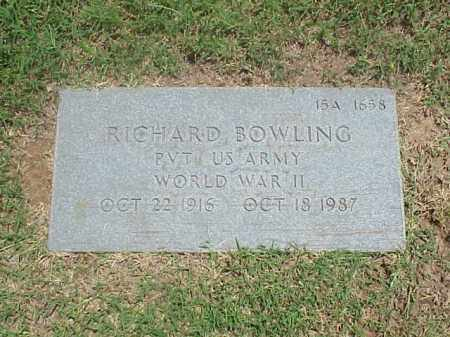 BOWLING (VETERAN WWII), RICHARD - Pulaski County, Arkansas | RICHARD BOWLING (VETERAN WWII) - Arkansas Gravestone Photos