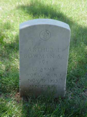 BOWMAN, SR (VETERAN WWI), ARTHUR E - Pulaski County, Arkansas | ARTHUR E BOWMAN, SR (VETERAN WWI) - Arkansas Gravestone Photos