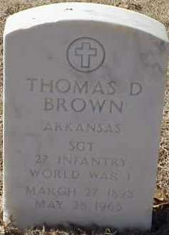 BROWN  (VETERAN WWI), THOMAS D - Pulaski County, Arkansas | THOMAS D BROWN  (VETERAN WWI) - Arkansas Gravestone Photos