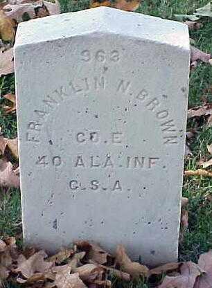 BROWN (VETERAN CSA), FRANKLIN N - Pulaski County, Arkansas | FRANKLIN N BROWN (VETERAN CSA) - Arkansas Gravestone Photos