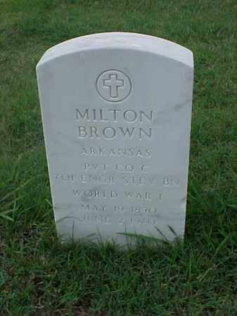 BROWN (VETERAN WWI), MILTON - Pulaski County, Arkansas | MILTON BROWN (VETERAN WWI) - Arkansas Gravestone Photos