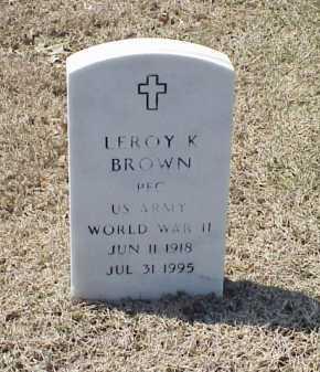 BROWN (VETERAN WWII), LEROY K - Pulaski County, Arkansas | LEROY K BROWN (VETERAN WWII) - Arkansas Gravestone Photos