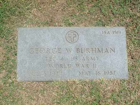 BURHMAN (VETERAN WWII), GEORGE W - Pulaski County, Arkansas | GEORGE W BURHMAN (VETERAN WWII) - Arkansas Gravestone Photos