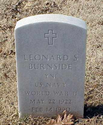 BURNSIDE (VETERAN WWII), LEONARD S - Pulaski County, Arkansas | LEONARD S BURNSIDE (VETERAN WWII) - Arkansas Gravestone Photos