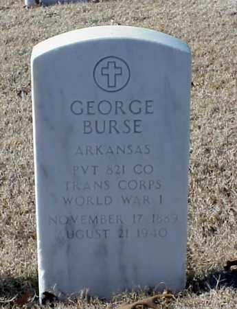BURSE (VETERAN WWI), GEORGE - Pulaski County, Arkansas | GEORGE BURSE (VETERAN WWI) - Arkansas Gravestone Photos