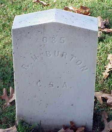 BURTON (VETERAN CSA), R H - Pulaski County, Arkansas | R H BURTON (VETERAN CSA) - Arkansas Gravestone Photos